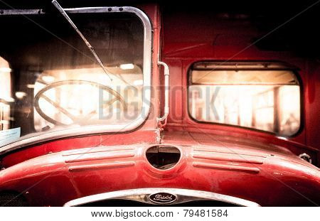 Front Of A Restored Vintage Double-decker Bus.