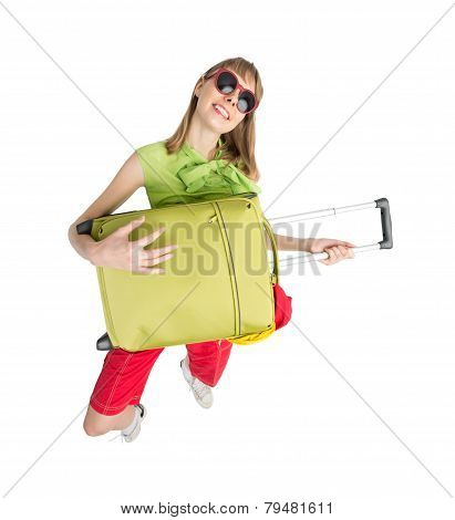 Funny Girl Tourist Play Green Bag In Sunglass.