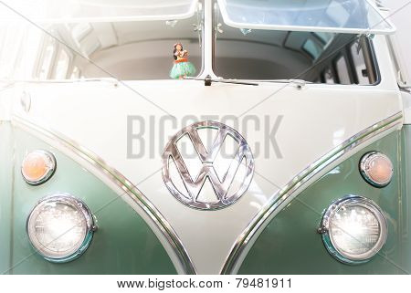 Front View Of A 1960S Vw Campervan.