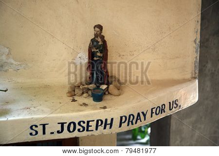 KOLKATA, INDIA - JANUARY 24,2009:St Joseph holding baby Jesus, Nirmal Hriday, Home for the Sick and Dying, one of the buildings established by the Mother Teresa and run by the Missionaries of Charity