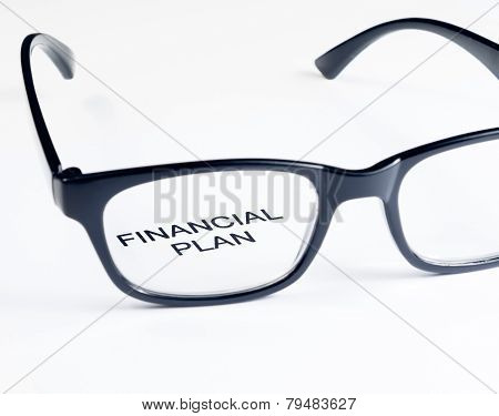 Financial Plan Words See Through Glasses Lens, Business Concept