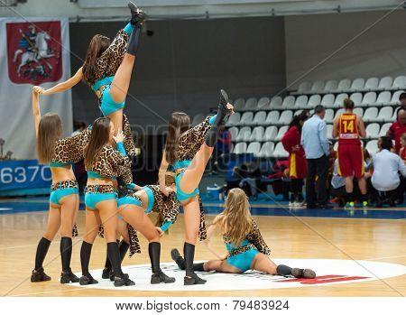Cheerleaders On Basketball Arena