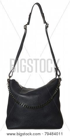 Black Leather Bag isolated on white background