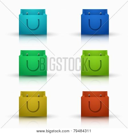Vector modern shooping bag icons set