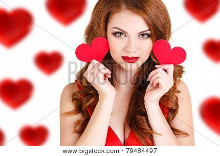 Portrait of a beautiful woman on Valentine's Day.