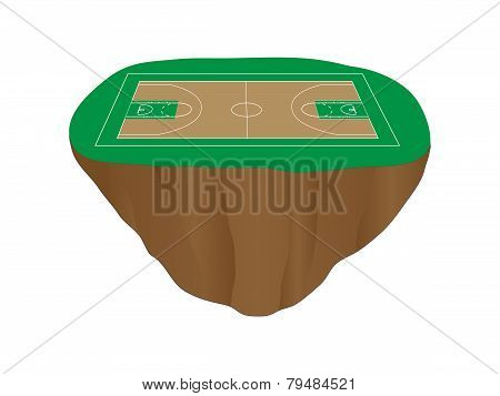 Green Basketball Court Floating Island
