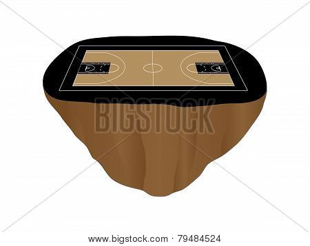 Black Basketball Court Floating Island