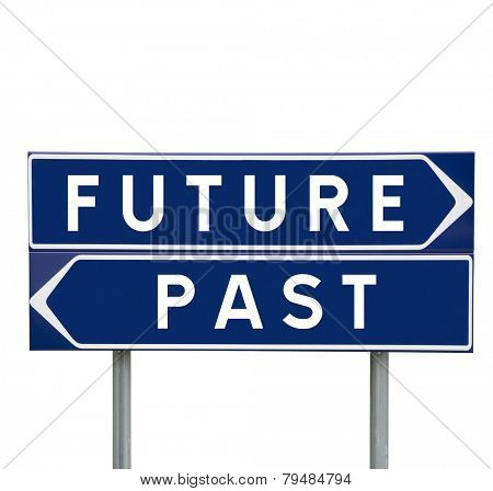 Future or Past choise on Road Signs isolated