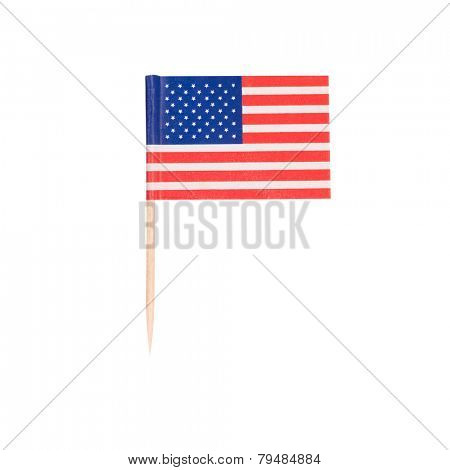 Toothpick Flag USA. Paper American flag . Isolated on white background