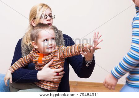 Woman And Kid Waving Goodbye