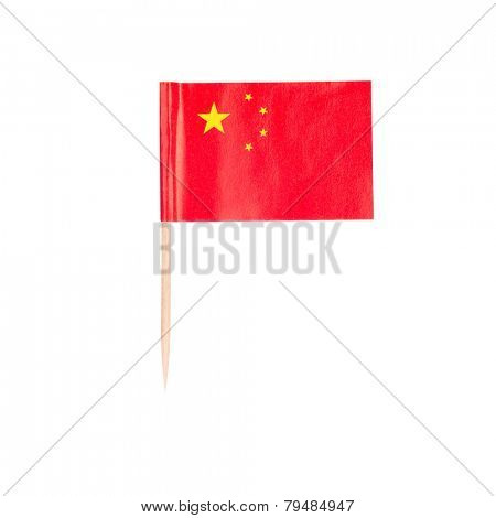 Toothpick Flag China. Paper Chinese flag . Isolated on white background