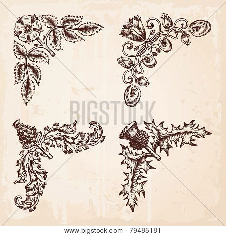 Hand Drawn Design Elements Corners Vintage