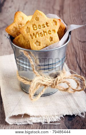 Best Wishes Stamped Cookies in a Tin Pail