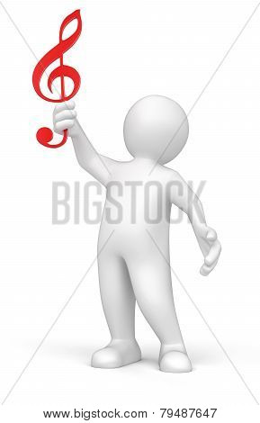 3d man holding music score clef on his hand (clipping path included)