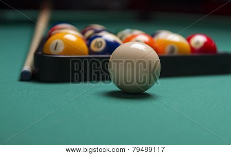 Billiard Balls Arranged In A Triangle;selective Focus On Cue Ball;shallow Focus; Focus Is On The Whi
