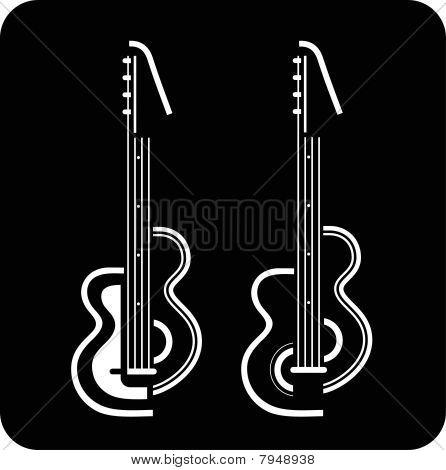 Guitar On Black Background