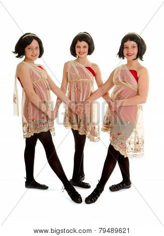 Preteen Irish Dance Trio In Wigs