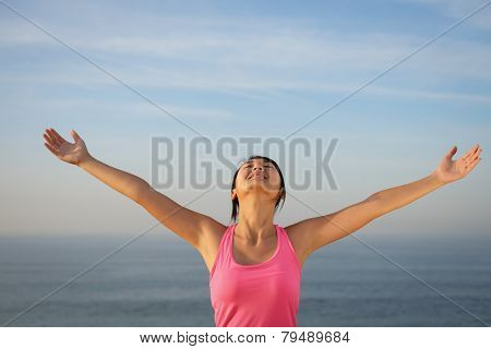 Woman Enjoying Tranquility And Freedom