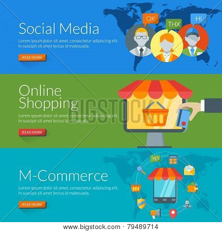 Flat Design Concept For Social Media, Online Shopping And M-commerce. Vector Illustration For Web Ba
