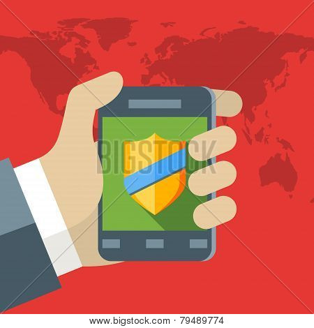 Security Concept. Vector Illustration In Flat Design Style. Human Hand With Mobile Phone. Antivirus
