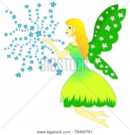 Fairy Woman And Flowers - Spring, Vector, Fairytale