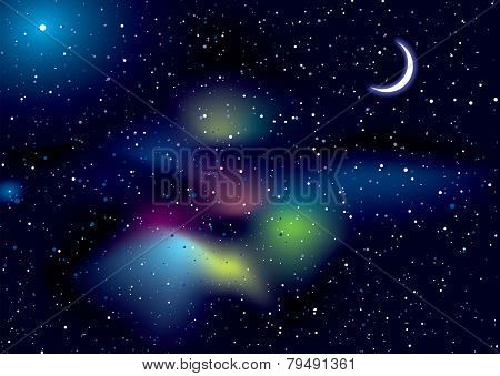 Illustrated space background with stella stars and copy space