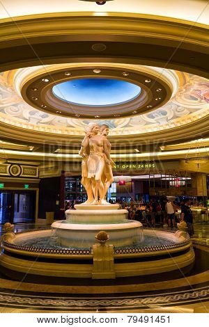 Interior Of A Luxurious Hotel With Marble Greek Statues