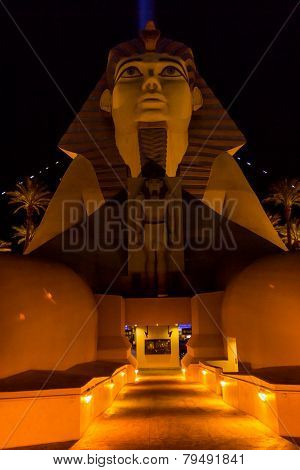 Front Entrance Of A Hotel Shaped As The Sphinx From Egipt