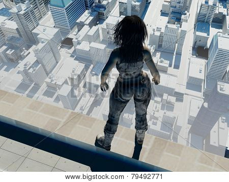 Figure of a girl on the roof of a skyscraper.