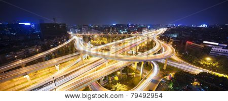 skyline and traffic,flyover in modern city.