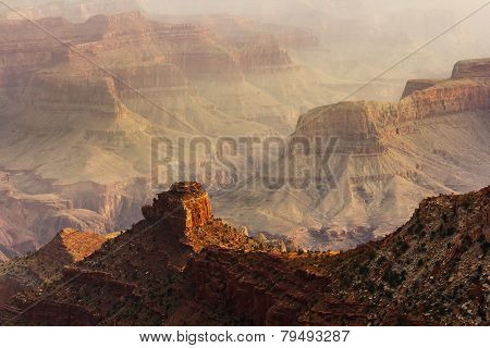 Sunset On Grand Canyon Rock Formations