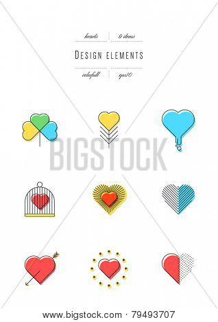 Vector set - design elements. Hearts. Thin line & colors (variable line width, eps10)