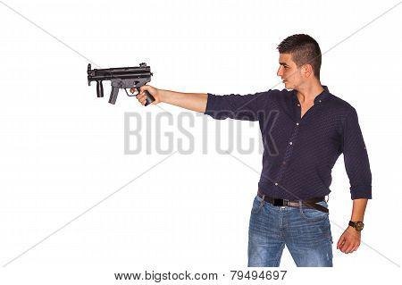 Young Man Pointing Gun