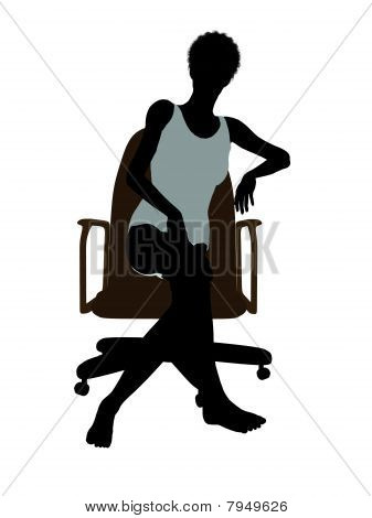 African American Woman In Undewear Sitting In An Office Chair Silhouette