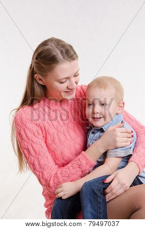 Happy Mom And Three Year Old Son