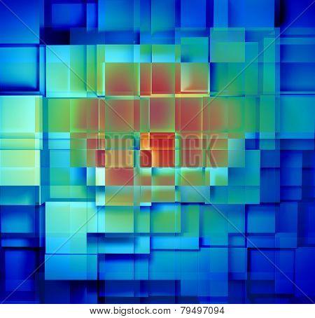 Blue Background Cubes