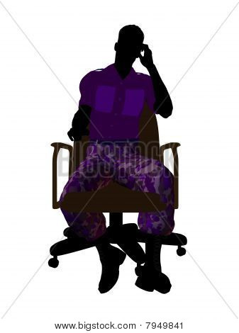 Male Soldier Sitting On An Office Chair Illustration Silhouette