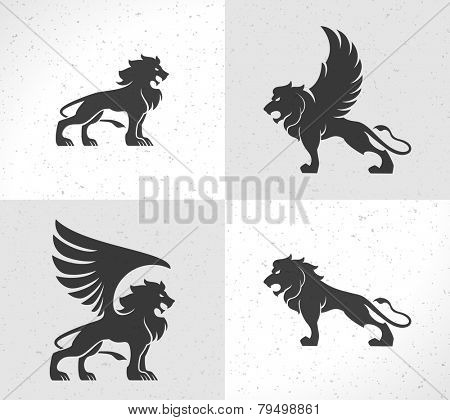 Lion face logo emblem template for business or t-shirt design. Vector Vintage Design Element.