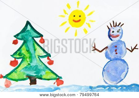 Child's Drawing With Snowman