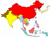 stock photo of south east asia  - color map of south east asia on white background - JPG