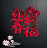 image of chinese calligraphy  - Lotus  - JPG
