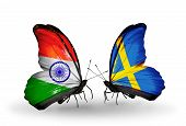picture of sweden flag  - Two butterflies with flags on wings as symbol of relations India and Sweden - JPG
