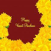 stock photo of saraswati  - Beautiful greeting card design with yellow flowers for Happy Vasant Panchami celebration - JPG