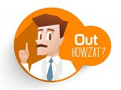 stock photo of umpire  - Stylish sticker with an umpire showing out and text Out Howzat on orange background for Cricket sports concept - JPG
