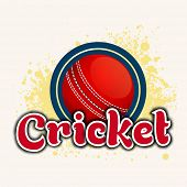 image of cricket  - Red cricket ball with stylish text Cricket on color splash background - JPG