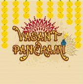 foto of saraswati  - Beautiful greeting card design with yellow text Vasant Panchami and flowers on floral decorated background - JPG