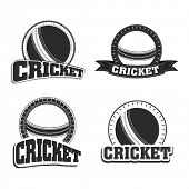 image of cricket ball  - Retro style black and white badge and label with ball and text cricket - JPG