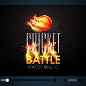 picture of cricket ball  - Live Cricket Battle telecast video player with red ball in fire - JPG