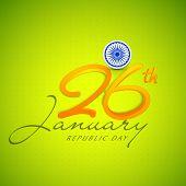 image of ashoka  - Elegant greeting card design with Ashoka Wheel and 3D text 26th January on shiny green background - JPG