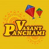 stock photo of saraswati  - Stylish text Vasant Panchami with colorful kites on floral decorated background - JPG